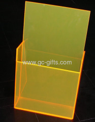 Plastic brochure display holder one pocket yellow 1/3 A4