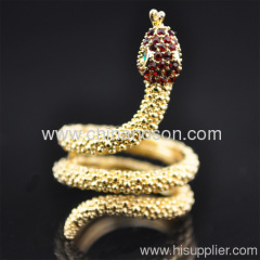 chic gold color crystal adjustable snake ring