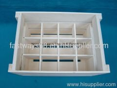collapsible wooden wine crate with dividers
