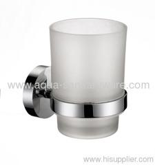 Round Brass Tumbler Holder with Milky glass