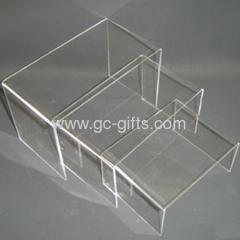 Retail shop clear acrylic display risers