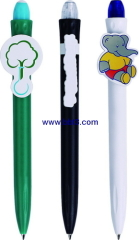 Promotional plastic click ballpen with cartoon clip
