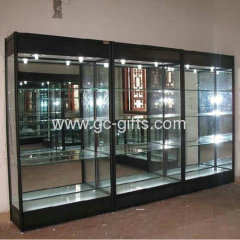 Against the wall optical glass display show cases