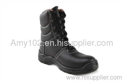 Leather safety working shoes / black genuine leather safety