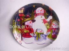 plastic Christmas round flat plate