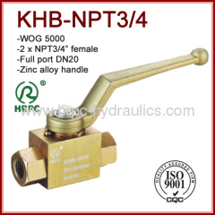 NPT 3/4 inch thread 2 way full port dn20 high pressure China manufacturer shut-off valve same as hydac ball valve
