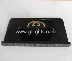Black acrylic tablets display cases with golden logo