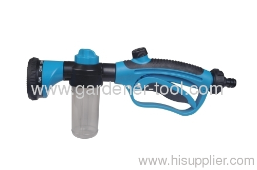 garden water nozzle with transparent soap dispensing