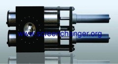 continuous hydraulic screen changer with double piston