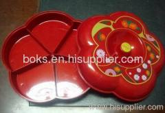 5 compartments plastic Christmas lid dish plates