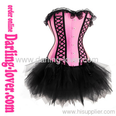 Hot Sale Pink Sexy Lace-up Corset and Dress