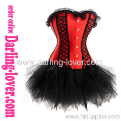 Sexy Red Lace Corset with Black Dress