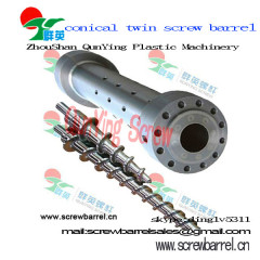 conical double screws and barrel