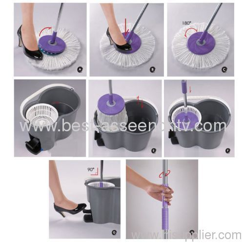 Foot pedal goldfish bucket spin go mop