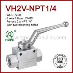 NPT female thread 2 way high pressure full port ball valve WOG7250