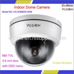 Indoor 680TVL 3.6mm lens Dome Camera