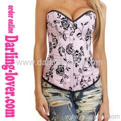 Wholesale Fashion Pink Flower Corset