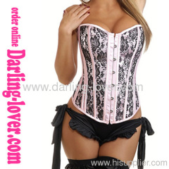 Sexy Pink Lace Flower Overbust Corset
