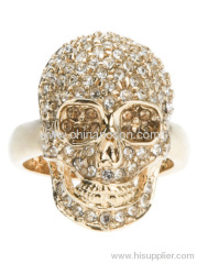 Quirky gold plated rhinestone ladies skull jewelry ring
