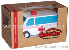 pull-back motor(ambulance) wooden toys cars model