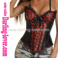 Sexy Red Lips New Overbust Corset