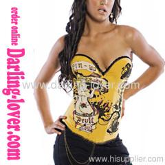 Hot Girl Print Yellow Migic Corset