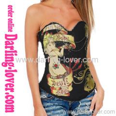 Sexy Hot Girl Print Black Corset