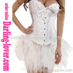 Sexy White Jacquard Classic Corset With Dress