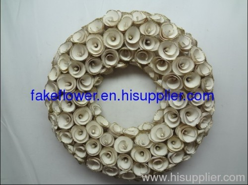 artificial woooden flower wreath for wedding decoration