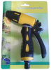 Plastic 3-way garden hose nozzle with soft grip.