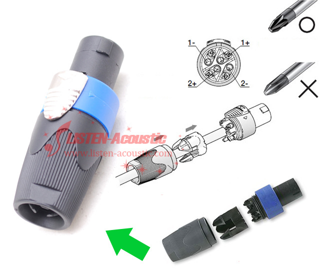 4p speakon connectors for cable  4p speakon   neutrik nl4fx