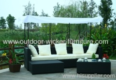 Patio wicker chairs and recliners with top roof