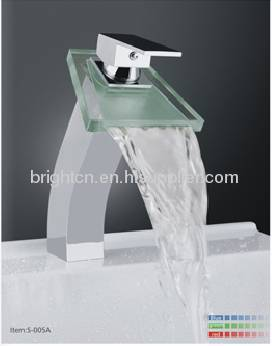 LED glass waterfall faucet