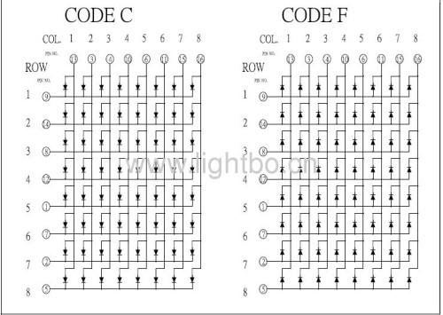 Pulgadas 6mm 8 x 8 de matriz de puntos Square 2.4 llevó la exhibición con las dimensiones del paquete 60 x 60 mm, Varias clours disponibles