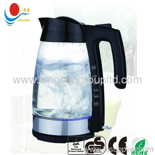 Transparent Glass body Electric Kettle with Led 1.8L glass
