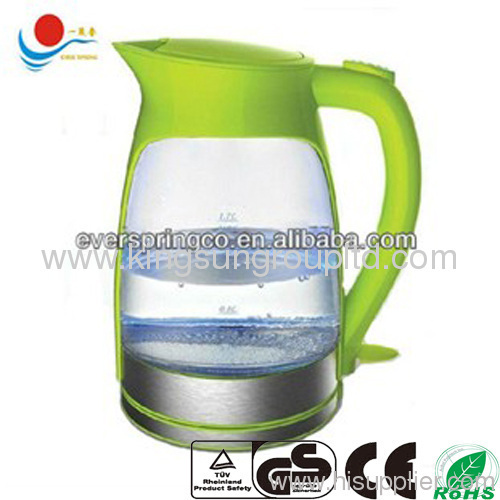 Electric glass kettle 1.7L with CE ROHS GS cordless ele