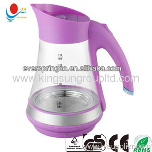1.8L glass water kettle 360 degree rotation with CE