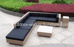 Outdoor wicker sofa with waterproof cushions