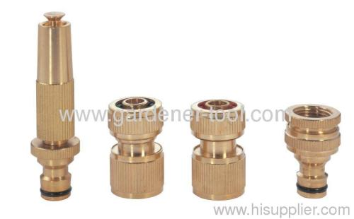 Brass 2-pattern hose nozzle with male connector for joint snap-in quick connector directly