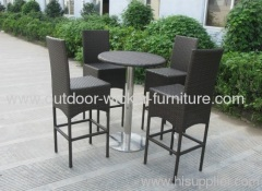Outdoor wicker bar set table with chairs