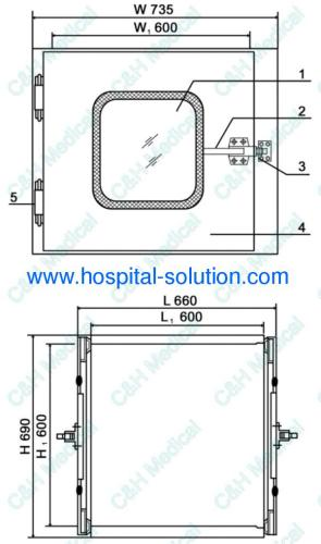 Hospital Stainless Steel Medical Clean Room Pass Box