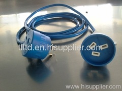Australian blue extension cords with Piggyback plug