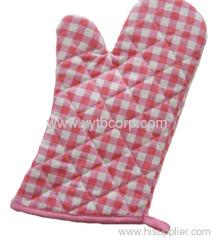 grid printed cotton microwave glove