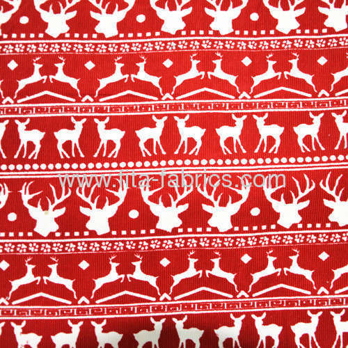 100 cotton elk or deer printed corduroy fabric for christmas seris