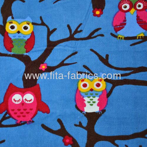 lucky Owl Printed Corduroy Fabric