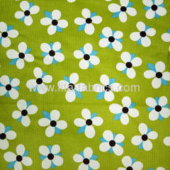 21w 100% cotton flowers printed corduroy fabric