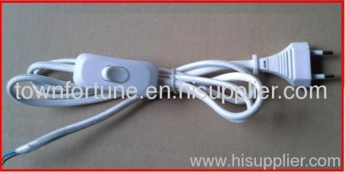 Cotton braided power cords with switch