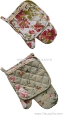 Microwave gloves, kitchen oven gloves set with lace decoration