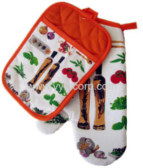 fruits printed Microwave Oven Heat Insulation Glove & Coaster set