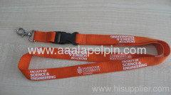 20mm Orange Polyester ribbed lanyard